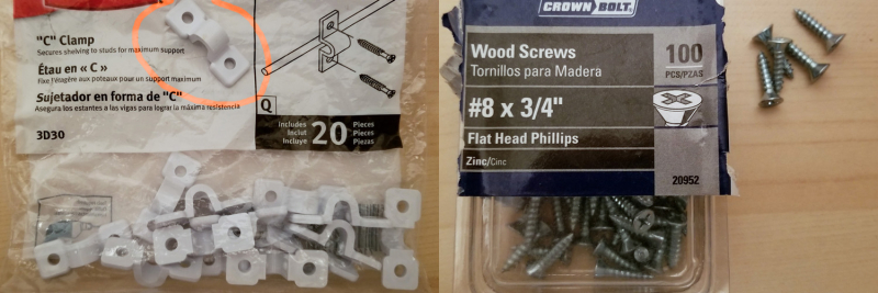 U-Clamps and screws 1500 x 500